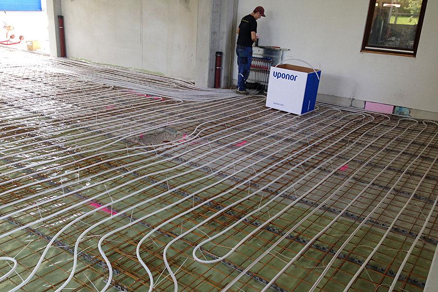 Werkstattgebäude Bergen - Installation einer Betonkernaktivierung