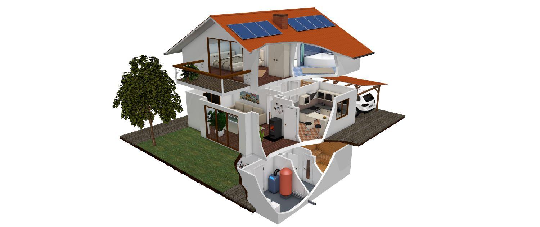 Querschnitt Einfamilien-Haus mit zwei Etagen und Keller als Beispielbild für Hausinstallationen von Fa. Timo Kleinschroth, Schleching