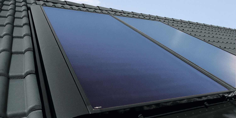 Solarthermie Anlage (Flachkollektor) von Viessmann auf Dach