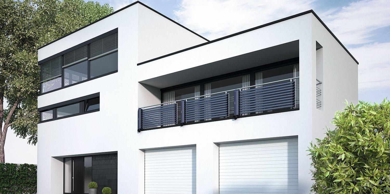 Modernes Flachdach-Einfamilienhaus mit Solarthermie-Anlage (Röhren-Kollektoren) von Viessmann als Balkonbrüstung
