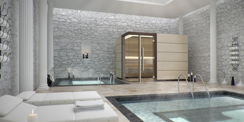 Luxuriöser Wellnessbereich mit Pool, Tauchabecken und Sauna von Tylö