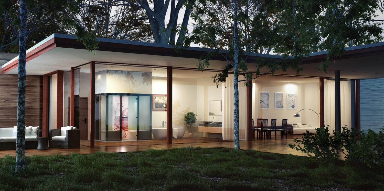 Blick auf beleuchteten Bungalow mit großen Glasfronten und Sauna von Tylö