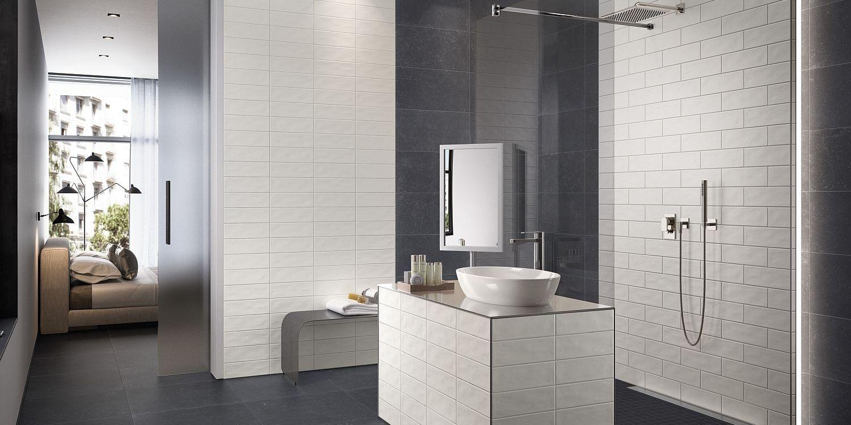 Modernes Duschbad ensuite, Fliesen und Objekte von Villeroy & Boch